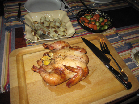 Roast Chicken with potatoes, and sprouts and carrots